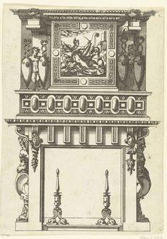 Anonymous   Schoorsteenmantel, gedecoreerd met een vierkante lijst met een voorstelling van de Geschiedenis (?), Anonymous, Jacques Androuet, André Wechel, 1520 - 1561   Geschiedenis (?) in de gedaante van een gevleugelde vrouw die haar pen op een lege cartouche zet. Uit een serie, bestaande uit een titelblad en 66 bladen met schoorsteenmantels, gedecoreerd met zuilen, hermen, cartouches, guirlandes en mascarons. Alle schoorsteenmantels zijn voorzien van haardijzers.