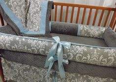 Custom Grey Damask with Accent YOUR CHOICE 4-Piece Complete Boutique Crib Nursery Bedding Set on Etsy, $414.99