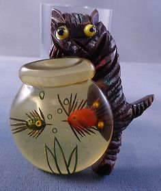 Whimsical Vintage Wood Cat Pin w/ Apple Juice Bakelite Fish Bowl - Reverse Carved! $695 ebay