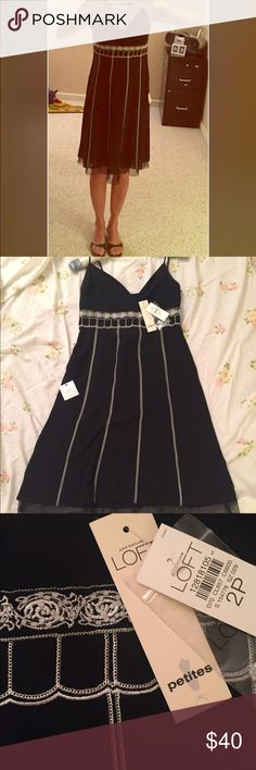 Holiday Ann Taylor Loft T-strap party dress Black sheer baby doll style with lovely beaded and stitched accents. Never worn! 2P with adjustable bra-type straps & hidden side zipper. Great deal! Ann Taylor Loft Petite Dresses Midi