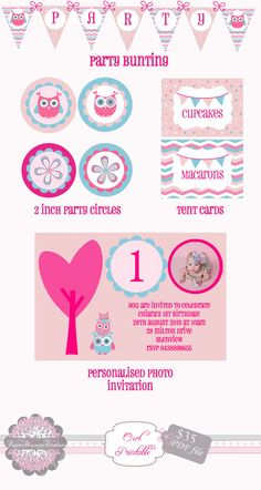 Owl Party Printables by PaperBlossomCreation on Etsy, $35.00
