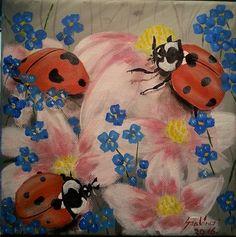 Ladybugs by Judit Szalanczi Canvas Prints, Framed Prints, Original Artwork, Bee, Greeting Cards, Tapestry, Acrylic Paintings, Ladybugs, Wall Art