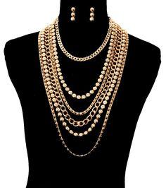 "19"" gold chain bead layered chain choker collar bib necklace earrings"
