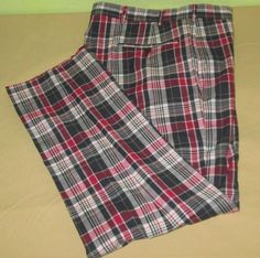 NEW Vntg   BROOKS BROTHER 346 Flat Front Pants Sz 35 x 30  - Red Wht Blue Plaid #BrooksBrothers #CasualPants