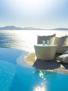 Pool side at Mykonos Island, Greece