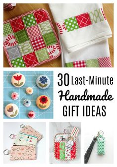 Over 30 ideas for Last-minute Handmade Gifts to make or sew with fabric - perfect for moms, neighbors, teachers, or kids. gift sewing Last-minute Handmade Gifts Small Sewing Projects, Sewing Projects For Beginners, Sewing Hacks, Sewing Tutorials, Sewing Crafts, Sewing Tips, Scrap Fabric Projects, Christmas Sewing, Diy Christmas Gifts