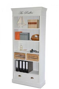 #Bücherregal Burgund - Antik Look - weiß/graubeige - lackiert