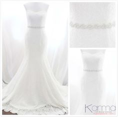 This Beautiful bridal belt features a pretty yet still clean twist pattern of hand-sewn silver beading and high-quality czech rhinestones -- a perfect accent for your amazing gown . - Karmabridal.com