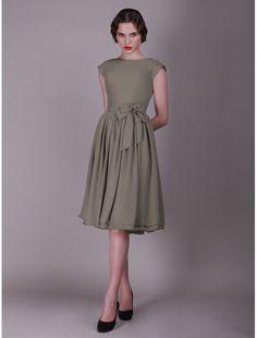 Chiffon Bateau Neckline A-Line Vintage Bridesmaid Dress with Short Sleeves - Bridal Party Dresses - RainingBlossoms