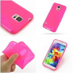 PDair Soft Plastic Case for Samsung Galaxy S5 SM-G900 (Pink/S Shape pattern)