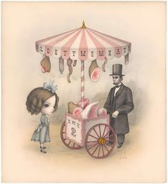 Olde Tyme Meats, by Mark Ryden. (Graphite on paper with watercolor washes, 2008).