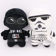 4PCS Star Wars The Force Awakens Plush Toys Stormtrooper Warrior Darth Vader BB8 R2-D2 Model Cartoon Universe Robot Stuffed Doll
