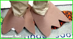 Use foam sheets to make giant dinosaur feet! Stomp around like dinosaurs!