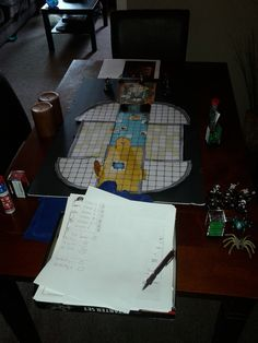 this is the table with the maps,paper,pencils,dice,characters,etc on game day.