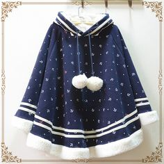 日系森女系加绒加厚可爱球球连帽斗篷外套波点冬季学生棉衣棉服女