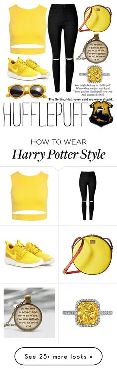 """Hufflepuff Inspired Outfit"" by laurenholms on Polyvore featuring Sans Souci, NIKE and Dolce&Gabbana"
