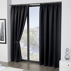 Luxury Thermal Supersoft Blackout Curtains Black 45 x 54 (114cm x 137cm) by ECO