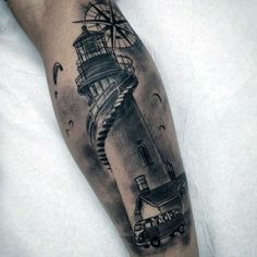 Realistic Lighthouse Tattoo On Muscles photo - 1