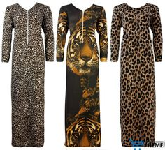 LADIES  ANIMAL PRINT LONG COTTON NIGHTIE WOMENS PYJAMA SET PLUS SIZE 16-20