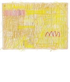 Thread drawings by Sharon Etgar Textiles Sketchbook, Artist Sketchbook, Yellow Art, Mellow Yellow, Stitching On Paper, Textile Sculpture, Colorful Abstract Art, Fabric Journals, Weaving Textiles