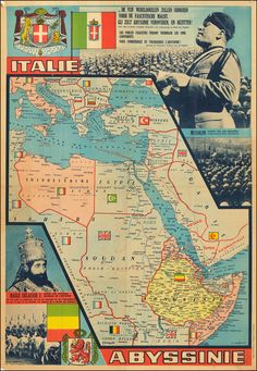 Fine pre-WWII political map, showing the political situation in Northern Africa and the plans of Mussolini to conquer Abyssinia. Old Maps, Antique Maps, History Timeline, History Facts, Egypt Map, Asia Map, Les Continents, Italy Map, World Geography