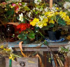 """Spring Pots"" - SOLD 30x30 oil ©Daniel J. Keys 2014 ©This image is under strict copyright to the artist and may not be reproduced in any form"