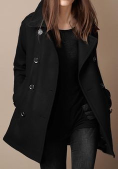 Black Plain Pockets Double Breasted Wool Coat - I want something like this, only minus the wool.. Is that a thing?