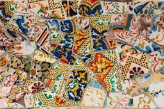 Gaudi S Park Guell In Barcelona - Mosaic Stock Photo - Image of mosaic, spain: 1503684 Gaudi Mosaic, Barcelona Spain, Where The Heart Is, Printing On Fabric, Stock Photos, Quilts, Painting, Image, Mosaics