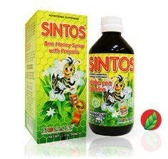 SINTOS® Jarabe de miel de abeja con Propóleo. Presentación: frasco con 240ml.   SINTOS® Honey bee syrup with propolis. Contains: 240ml.