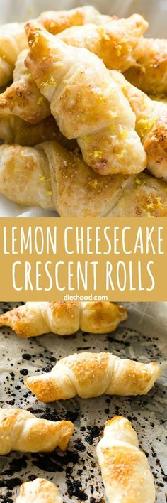 Lemon Cheesecake Crescent Rolls – Super easy and incredibly soft Crescent Roll. Lemon Cheesecake Crescent Rolls – Super easy and incredibly soft Crescent Rolls filled with a sweet and delicious lemon cheesecake filling. Lemon Desserts, Lemon Recipes, Baking Recipes, Delicious Desserts, Sweet Recipes, Yummy Food, Lemon Cakes, Chef Recipes, Easy Desserts
