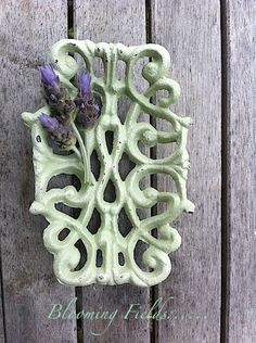 Light Sage Green Cast Iron Soap Dish  Distressed Shabby Chic  by AlacartCreations