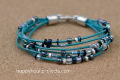 Simple Layered Leather Bracelet happy hour projects blog
