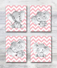 canvas set of 4 Pink Gray Elephant Print, Elephant Wall Decor Canvas Print Stickers Decor Children Art Baby Girl Room Decor poster set by irinnadesign on Etsy Baby Wall Art, Baby Art, Art Wall Kids, Art For Kids, Elephant Wall Decor, Elephant Print, Elephant Poster, Baby Boy Nursery Decor, Baby Room