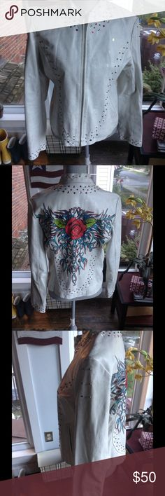 Wilson Leather jacket Beige leather with red and clear rhinestones,copper colored grommets,bronze paint spots,large rose embroidered on back. Wilsons Leather Jackets & Coats