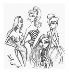 Quick sketches. Some of the biggest influences on my work are these glam & iconic fictional female characters #Barbie #Bratz #JessicaRabbit #Disney #Cinderella