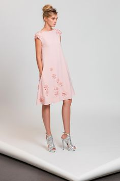 Powder pink cocktail dress in silk Moroccan crepe, embellished with laser cut flower appliques.