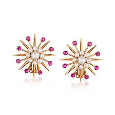 Ross-Simons - C. 1970 Vintage Cultured Pearl and 1.10 ct. t.w. Ruby Earrings In 14kt Yellow Gold - #766500