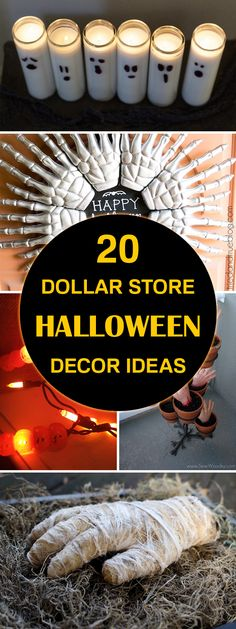 Dollar Store Halloween Decor Ideas Easy DIY Halloween decor ideas using cheap supplies from the dollar store.Easy DIY Halloween decor ideas using cheap supplies from the dollar store. Bolo Halloween, Halloween Tags, Halloween Cupcakes, Halloween 2018, Holidays Halloween, Halloween Parties, Vintage Halloween, Halloween Dishes, Halloween Village