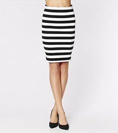 Sharpen your style with this stripe knit pencil skirt! Pair it with one of our blazers for the perfect day look or wear it with your highest heels for a quick cocktail-ready look.