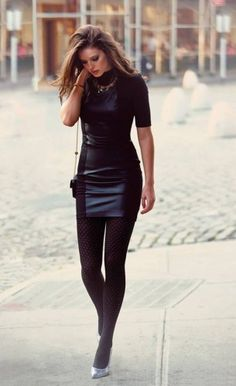 leather mini dress and tights