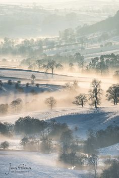 Snow and Mist cover Dove Valley, Staffordshire, England