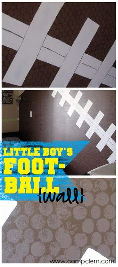 """little boy's football feature wall, use big bubble wrap for the """"bumps"""" on the football! genius! #DIY #kids"""