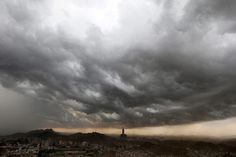 Clouds gather over the Saudi holy city of Mecca