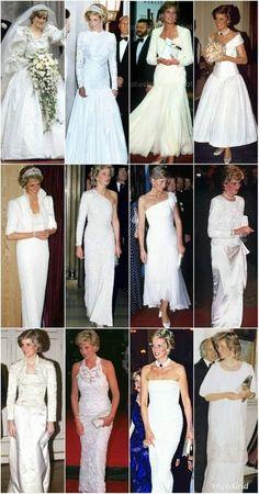 Princess Diana Dresses, Princess Diana Fashion, Princess Diana Pictures, Princess Diana Family, Vintage Princess, Royal Princess, Princess Of Wales, Lady Diana Spencer, White Gowns
