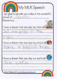 "Classroom Freebies: ""I Have a Dream"" speech template for elementary students. #MLK"