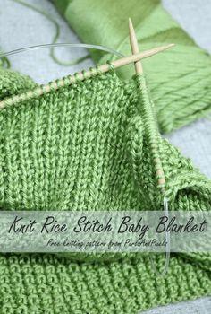 Rice Stitch Baby Blanket pattern by Liz Chandler - Free Knitting Patterns - Stricken Baby Knitting Patterns, Free Baby Blanket Patterns, Knitting For Kids, Knitting For Beginners, Loom Knitting, Knitting Stitches, Crochet Patterns, Knitting Ideas, Knitting Tutorials