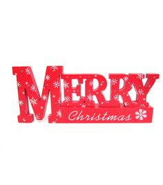 Holiday Cheer LED Mdf Table Top Sign Merry