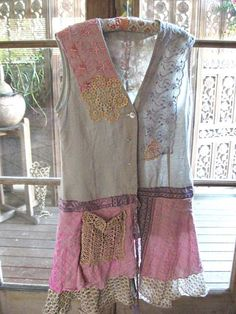Grey Linen and Pink Silk Jacket, Dress, Recycled, Vintage Lace, Bohemian Silk Jacket, Jacket Dress, Diy Clothing, Sewing Clothes, Boho Outfits, Vintage Outfits, Altered Couture, Altering Clothes, Linens And Lace