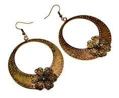 A Pair of Indian Brass Metal Cute Floral Design Boho Hippie Danglers Earrings Krishna Mart India http://www.amazon.com/dp/B00UNF925G/ref=cm_sw_r_pi_dp_hMxEvb170RX5Z