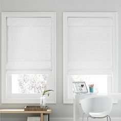 The Real Simple Cordless Roman Cellular Shade creates a cozy atmosphere. These cordless shades feature a room darkening thermal backing and cellular fabric that provide two layers of additional energy-saving insulation to help you save on energy costs. Real Simple, Cordless Roman Shades, Blackout Shades, Cellular Shades, Cellular Blinds, Shades Blinds, Blinds For Windows, High Windows, Window Blinds